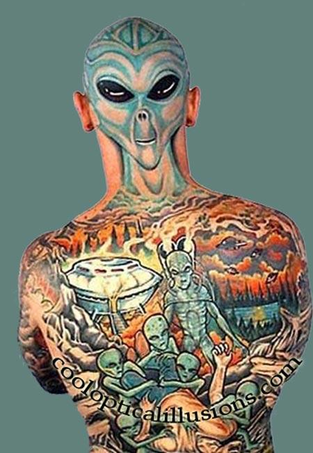 alien tattoo design whole body