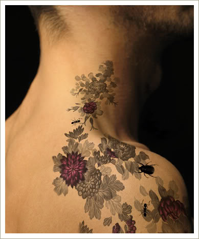 art tattoo design with flower of girl