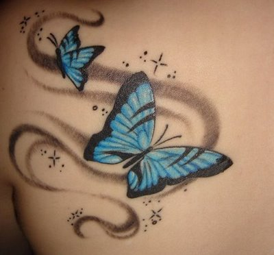 Skin Colors Butterflyandstarstattooonthebackbodygirl