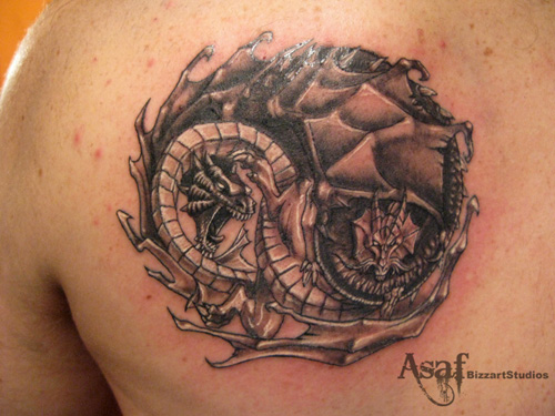art ying yang tattoos tattoo expo. Black Bedroom Furniture Sets. Home Design Ideas